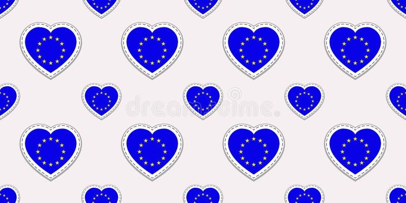 Den europeiska sömlösa modellen för fackliga flaggor VektorEU sjunker stikers Förälskelsehjärtasymboler Resa sportsidor, turisten stock illustrationer