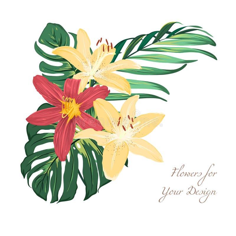 Den exotiska liljan blommar den tropiska grönskabuketten stock illustrationer