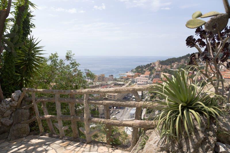 Den exotiska trädgården av Monaco arkivbilder