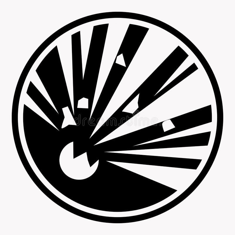Den explosiva vektorn för varningsteckenexplosionen isolerade faravarningssymbolen royaltyfri illustrationer
