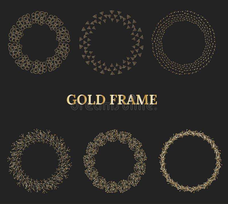 den extra illustratören för guld för ramen för Adobeeps-formatet inkluderar vektor illustrationer