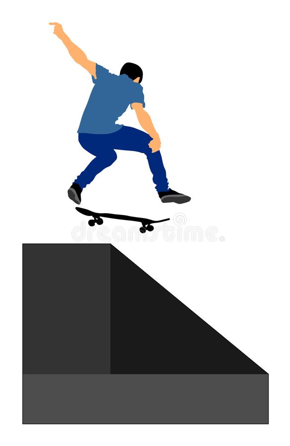 Den extrema sportleken, skateboarder i skridsko parkerar, luftar hopptrick stock illustrationer