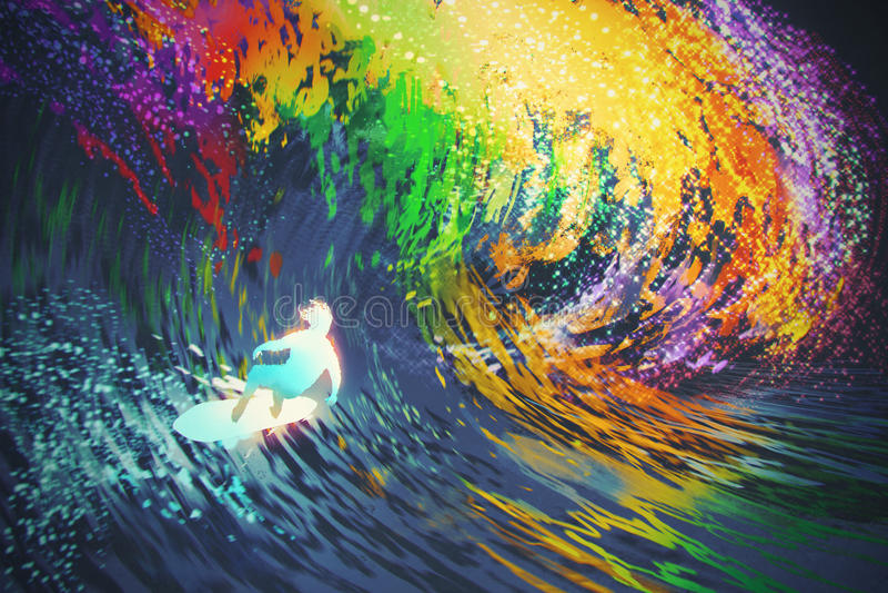 Den extrema surfaren rider en färgrik havvåg vektor illustrationer