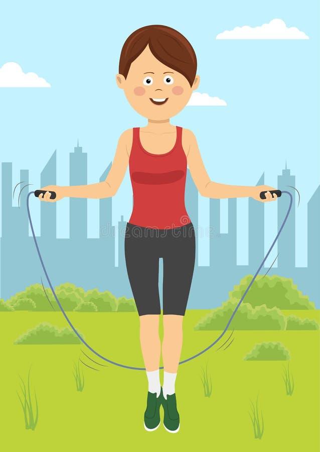 Den färdiga unga kvinnan hoppar med repet parkerar in Konditionkvinnlig som utomhus gör hoppande over genomkörare på en solig dag stock illustrationer