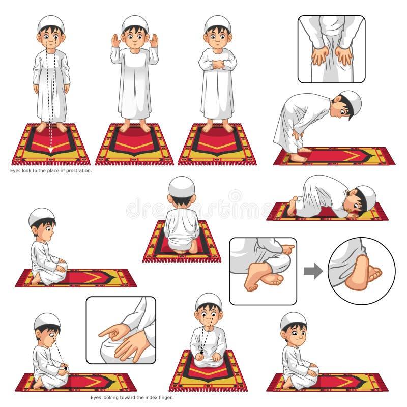 Den färdiga uppsättningen av den muslimska bönpositionshandboken utför stegvis vid pojken stock illustrationer