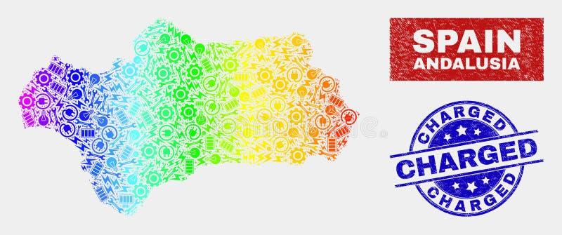 Den färgade regnbågen monterar den Andalusia landskapöversikten och bedrövar laddade stämplar vektor illustrationer