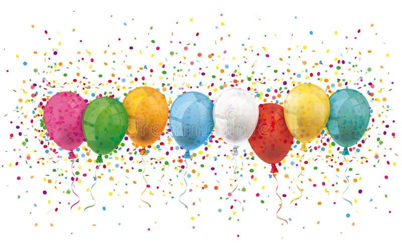 Den färgade titelraden sväller konfettiexplosion royaltyfri illustrationer