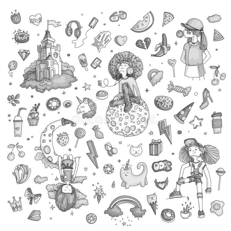 Den färgade uppsättningen av symboler för den tonårs- flickan, tonåriga objekt för gullig tecknad film, roliga klistermärkear pla stock illustrationer