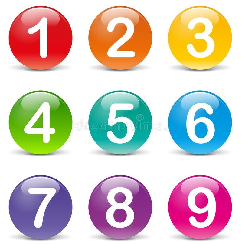 Den färgade vektorn numrerar symboler royaltyfri illustrationer