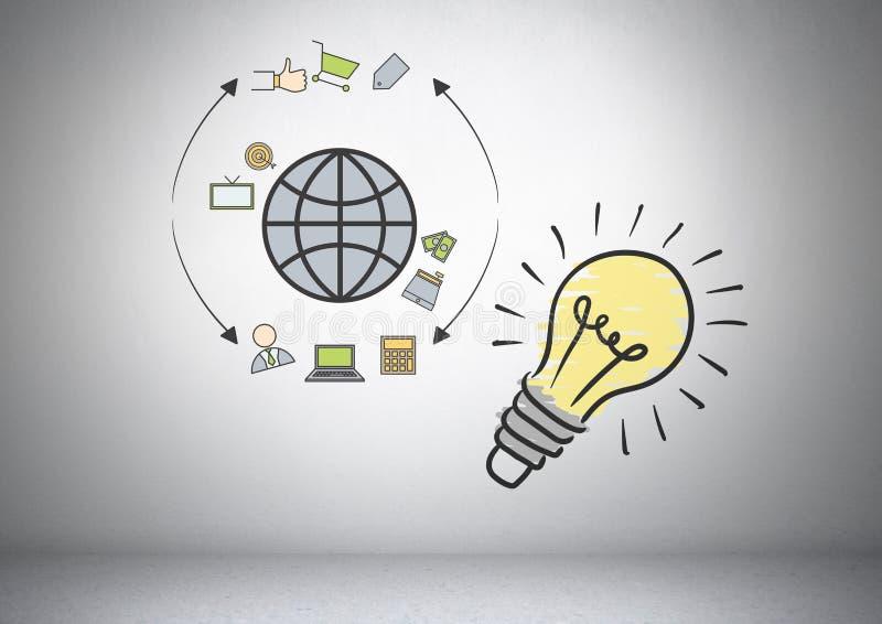 Den färgglade lightbulben med online-affär shoppar grafiska teckningar royaltyfri illustrationer
