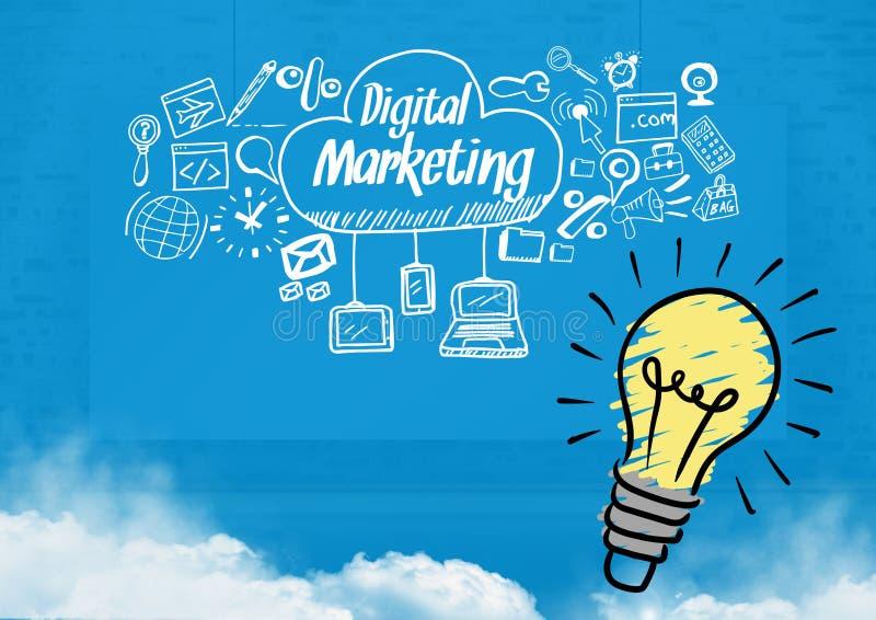 Den färgglade lightbulben och den Digital marknadsföringen smsar med teckningsdiagram stock illustrationer