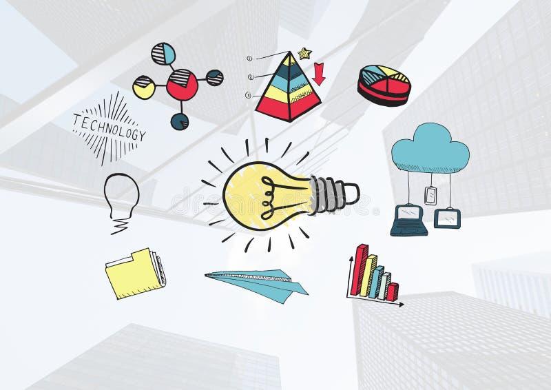 Den färgglade lightbulben och statistiken smsar med teckningsdiagram stock illustrationer