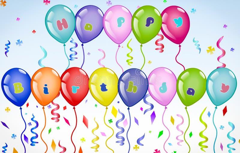 Den färgglade och vibrerande lyckliga födelsedagen sväller banret med färgglad text vektor illustrationer
