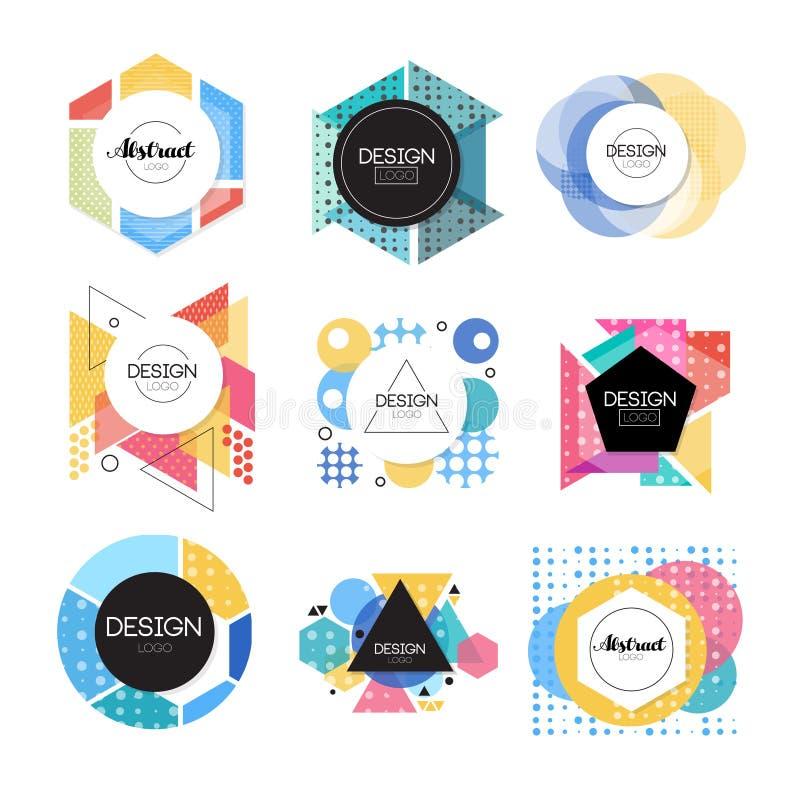 Den färgrika abstrakta designlogouppsättningen, geometrisk form undertecknar vektorillustrationer royaltyfri illustrationer