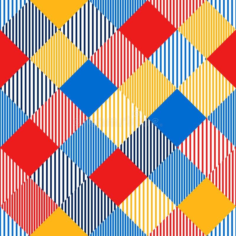 Den färgrika abstrakta enkla kontrollören gjorde randig den geometriska sömlösa modellen, vektor royaltyfri illustrationer