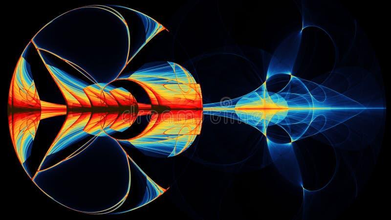 Den färgrika abstrakta illustartionen ser som utrymmeplanetrörelse stock illustrationer