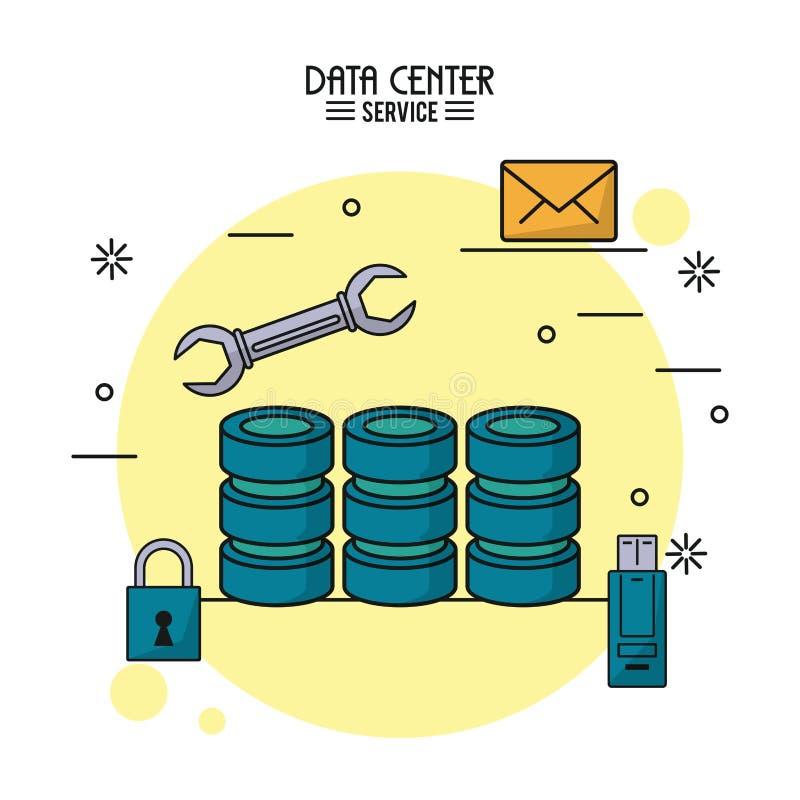 Den färgrika affischen av datorhallservice med datorserversymbolen och skiftnyckeln bearbetar och usb-minnet och hänglåset och po vektor illustrationer