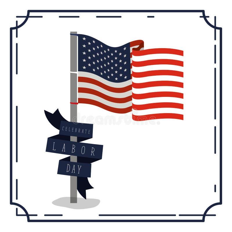 Den färgrika affischen med gränstappning av firar arbets- dag med amerikanska flaggan i pol och slösar den dekorativa etiketten stock illustrationer