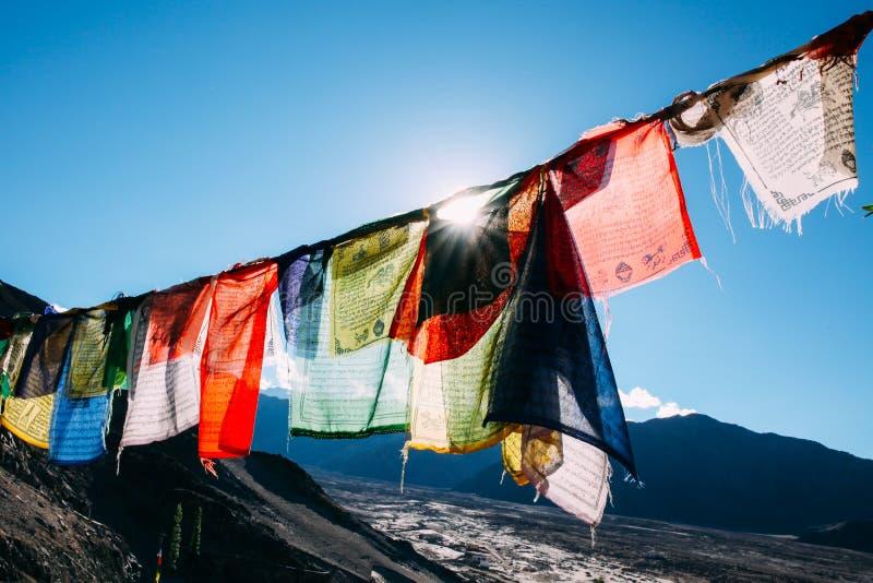 Den färgrika bönen sjunker med solen som skiner till och med en av bönflaggor i Leh, Ladakh, Indien arkivbilder