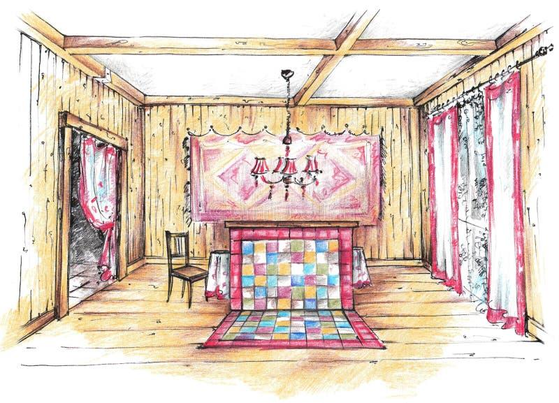 Den färgrika blyertspennan skissar av ett landshus ?ta middag inre lokal royaltyfri illustrationer
