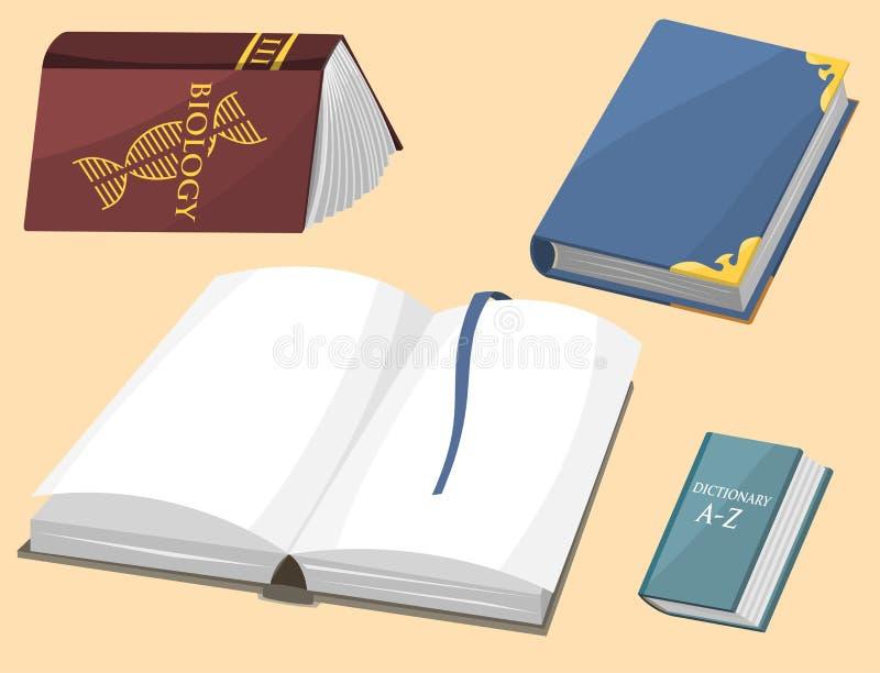 Den färgrika bokvektorillustrationen lär för utbildningskunskap för litteratur studien öppnade stängda läroboken för dokumentet royaltyfri illustrationer
