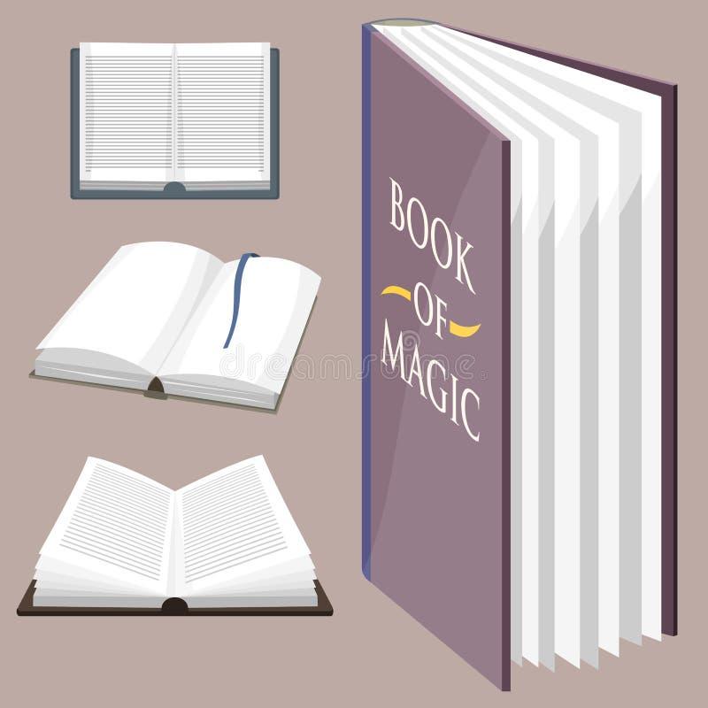 Den färgrika bokvektorillustrationen lär för utbildningskunskap för litteratur studien öppnade stängda läroboken för dokumentet stock illustrationer