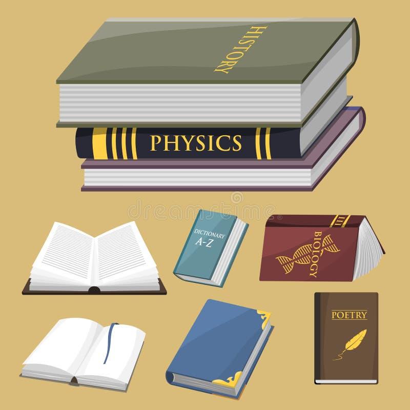 Den färgrika bokvektorillustrationen lär för utbildningskunskap för litteratur studien öppnade stängda läroboken för dokumentet vektor illustrationer