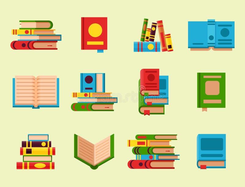 Den färgrika bokvektorillustrationen lär litteratur stock illustrationer
