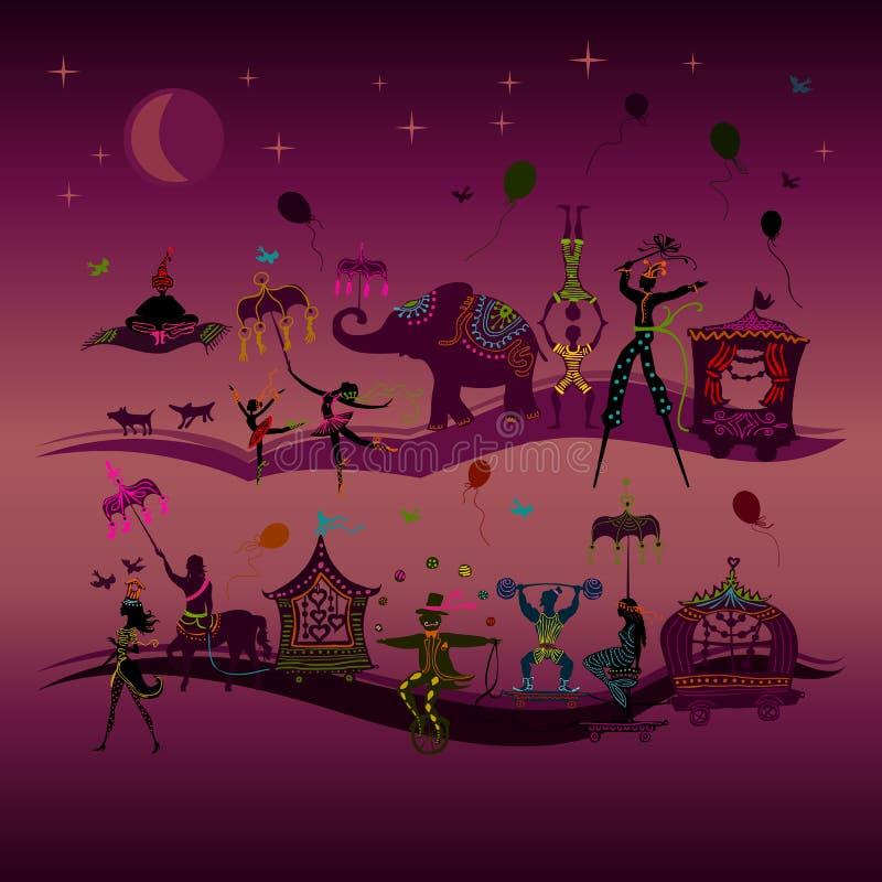 Den färgrika cirkuskarnevalet som itu reser, ror på natten royaltyfri illustrationer