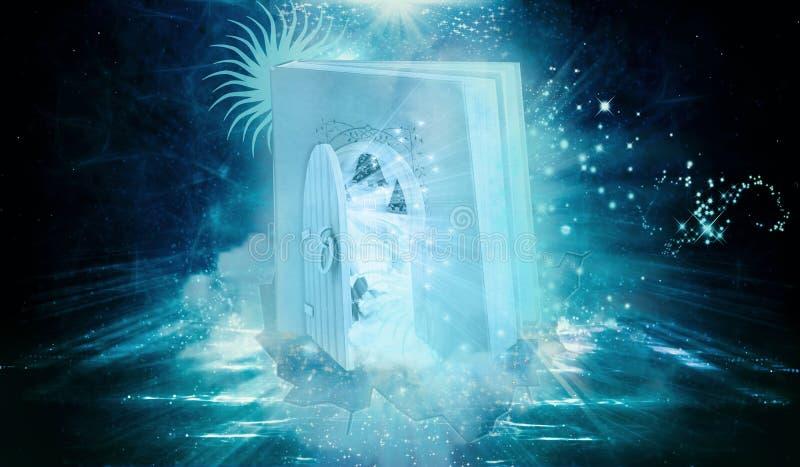 Den färgrika datoren för tolkningen 3d frambragte illustrationen av boken formad port med en annan dimensionell öppen dörr på sid royaltyfri illustrationer
