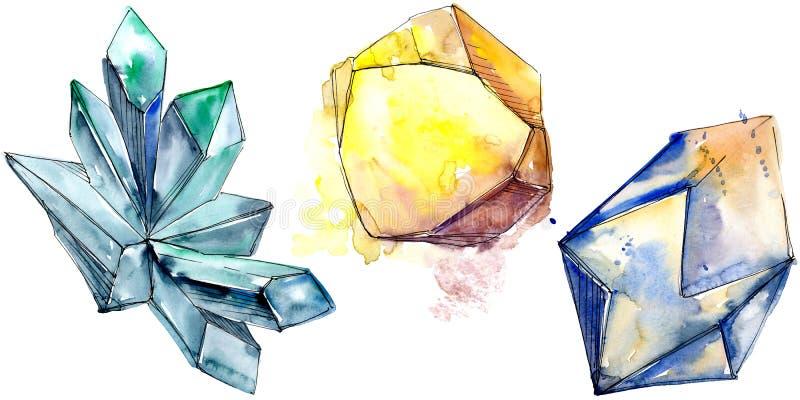 Den färgrika diamanten vaggar smyckenmineral Isolerad illustrationbeståndsdel royaltyfri illustrationer