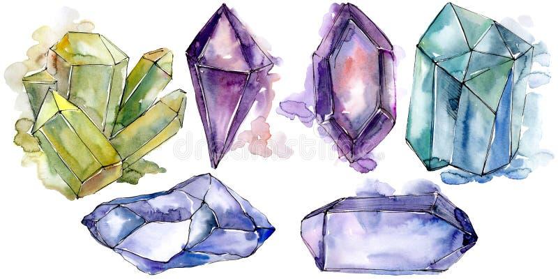 Den färgrika diamanten vaggar smyckenmineral Isolerad illustrationbeståndsdel vektor illustrationer