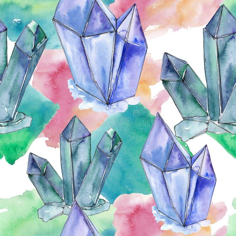 Den färgrika diamanten vaggar smyckenmineral Seamless bakgrund mönstrar Textur för tygtapettryck royaltyfri illustrationer
