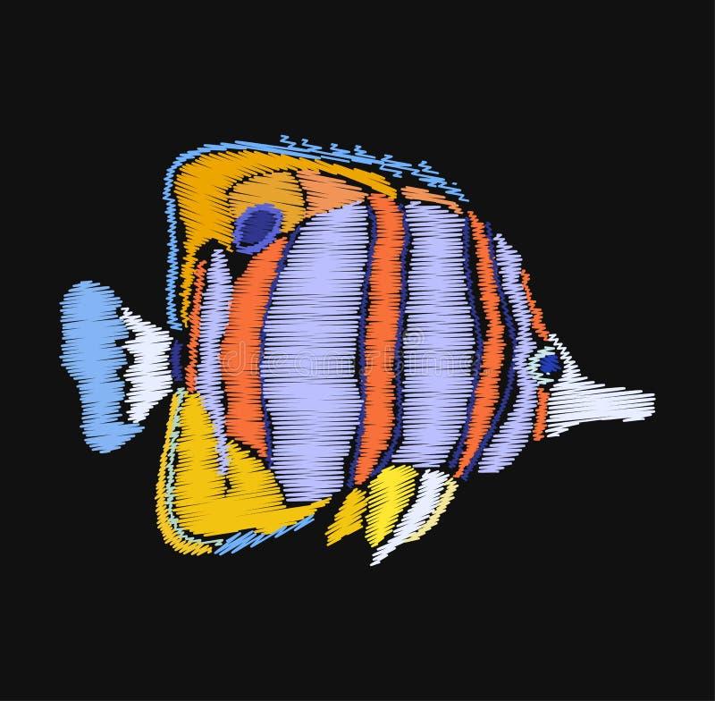 Den färgrika fisken i broderihäftklammer utformar på svart bakgrund vektor illustrationer