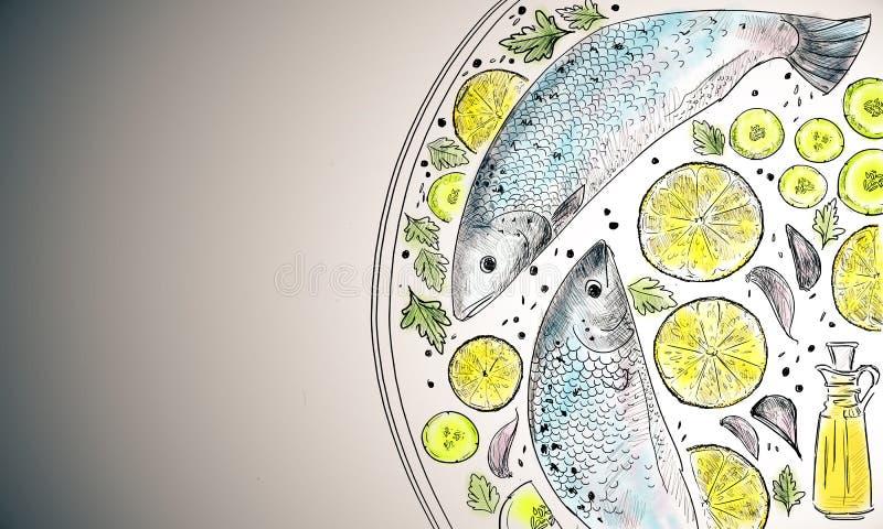 Den färgrika fiskmaträtten skissar stock illustrationer