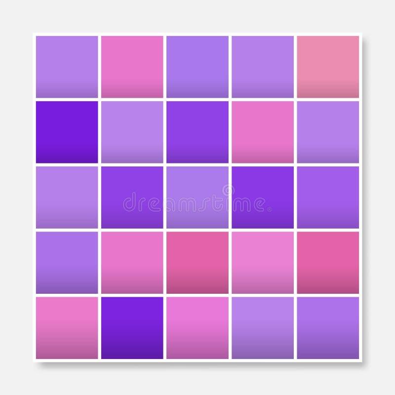 Den färgrika fyrkantbakgrundsramen, blockerar mjuka pastellfärgade purpurfärgade rosa färger stock illustrationer