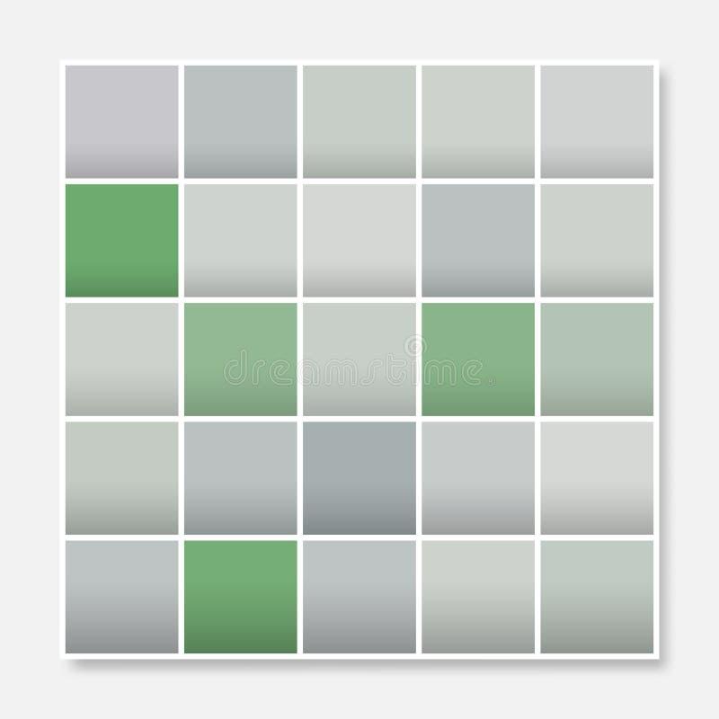 Den färgrika fyrkantbakgrundsramen, blockerar mjuka pastellgräsplangrå färger royaltyfri illustrationer