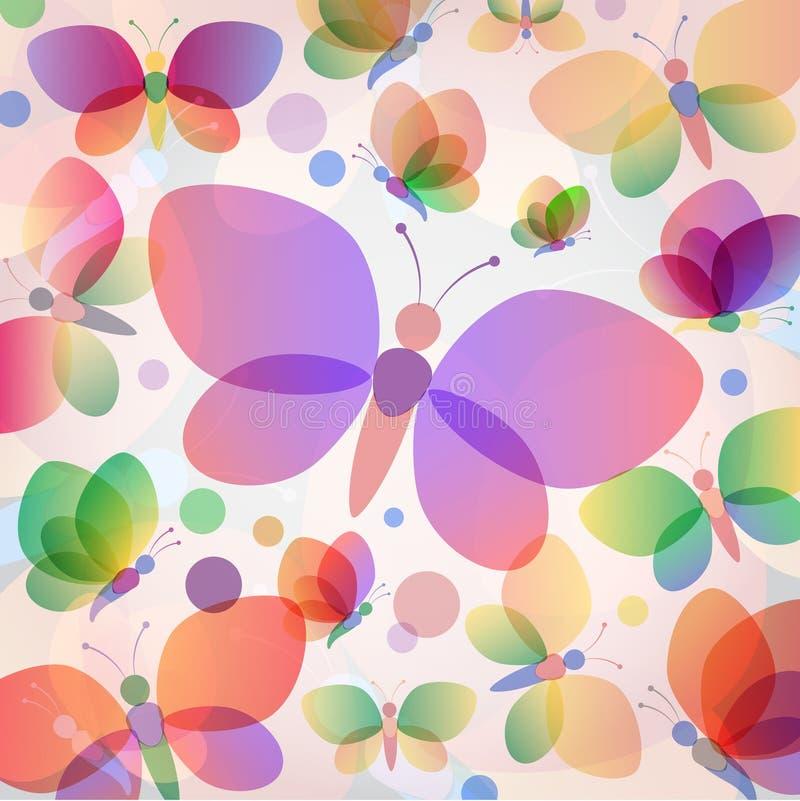 Den färgrika fjärilssommaren mönstrar vektor illustrationer