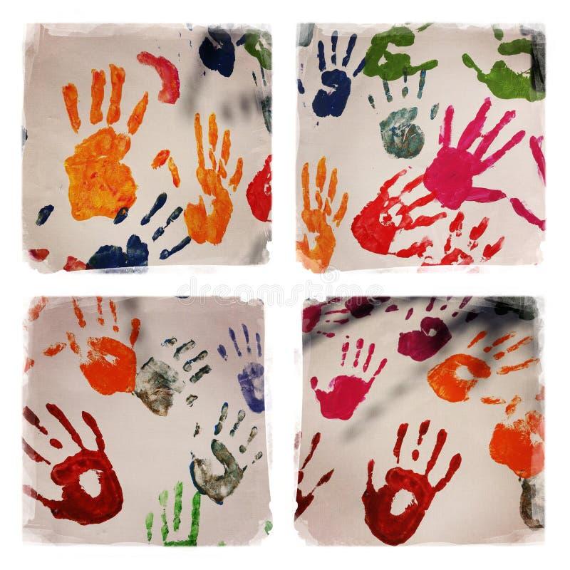 Den färgrika handen skrivar ut collage royaltyfri bild