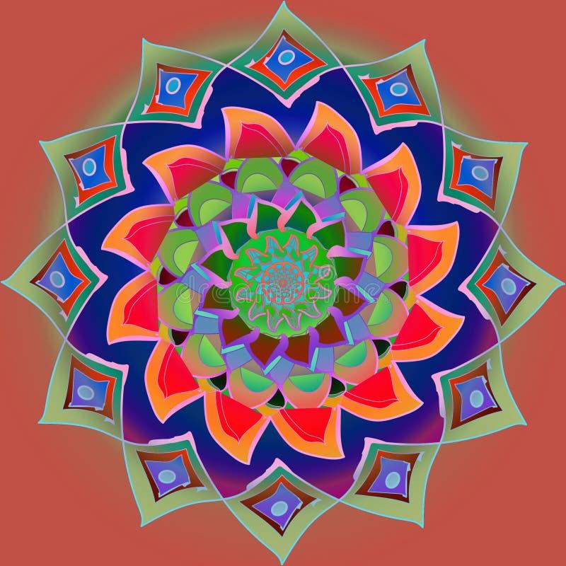 DEN FÄRGRIKA INDISKA BLOMMAMANDALAEN I RÖTT, ORANGE, PURPURFÄRGAT, GRÖNT, SLÖSAR MED EN PLAN BRUN BAKGRUND royaltyfri illustrationer
