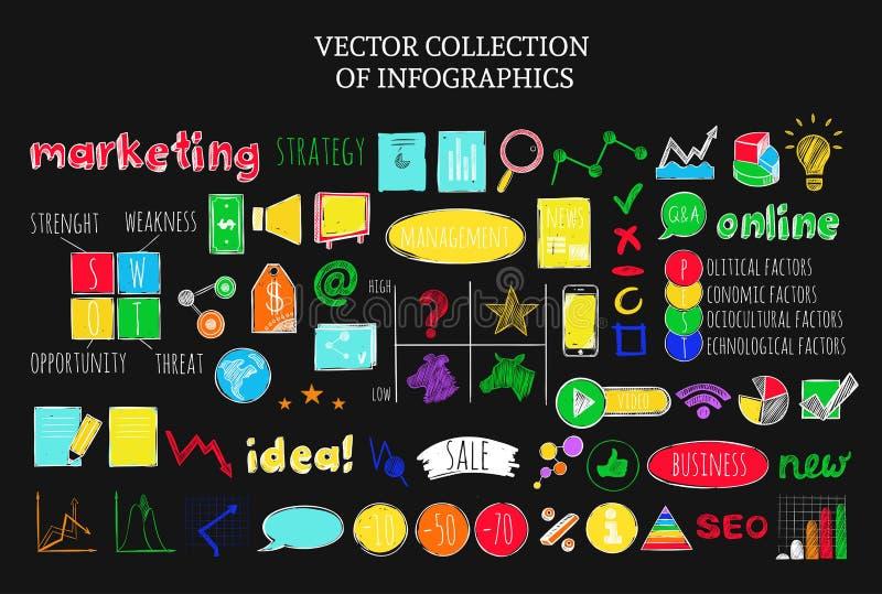 Den färgrika Infographic affären skissar symbolsuppsättningen royaltyfri illustrationer