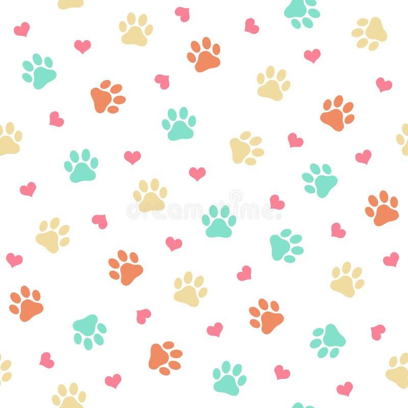 Den färgrika katten eller hunden tafsar trycket - sömlös modellvektorillustration royaltyfri illustrationer
