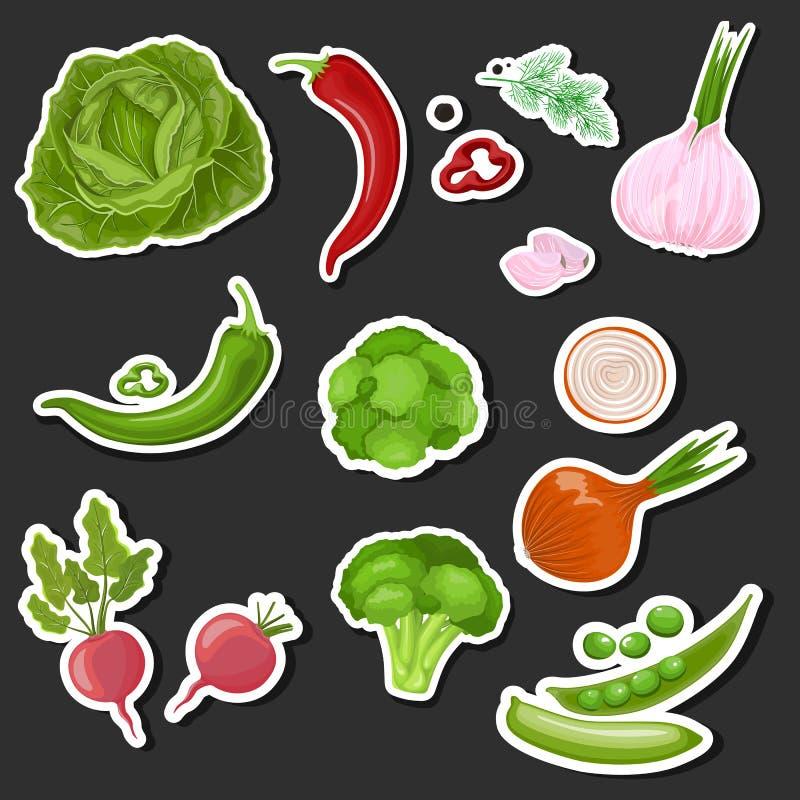 Den färgrika lägenheten bär frukt symbolsuppsättningen Ny klistermärkedesign stock illustrationer