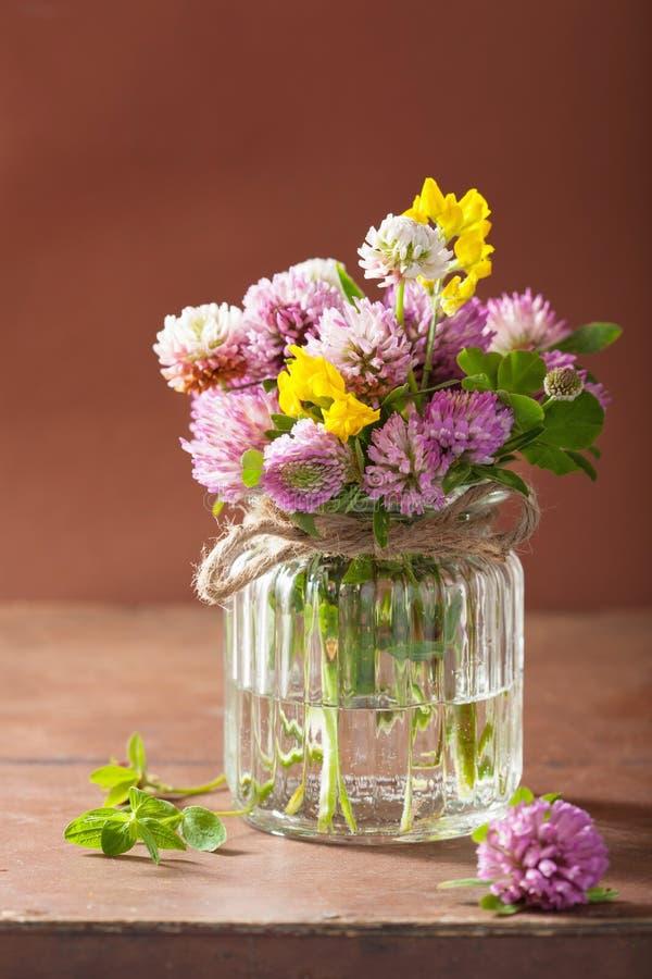 Den färgrika läkarundersökningen blommar och örter i den glass kruset royaltyfri fotografi