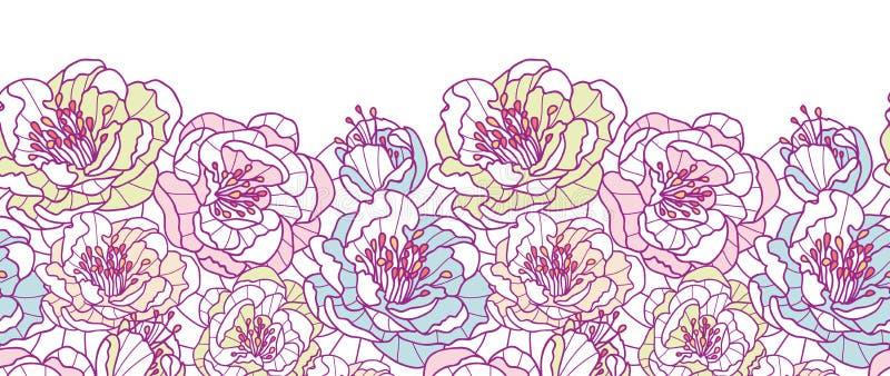 Den färgrika linjen konst blommar horisontalsömlöst stock illustrationer