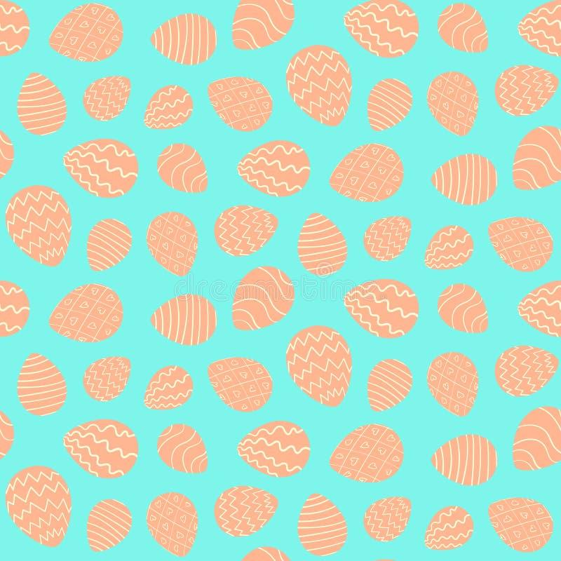 Den färgrika påskmodellen med dekorerar ägg på blått stock illustrationer