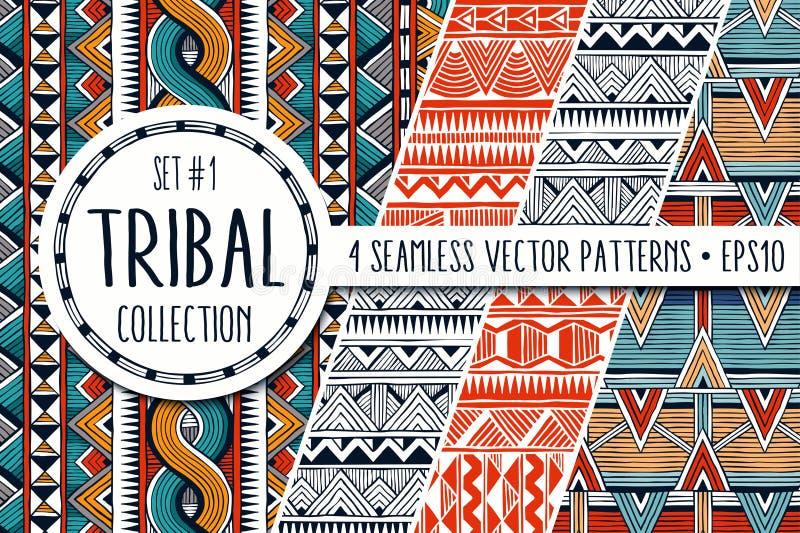 Den färgrika person som tillhör en etnisk minoritet mönstrar samlingen Uppsättning av 4 moderna abstrakta sömlösa bakgrunder vektor illustrationer