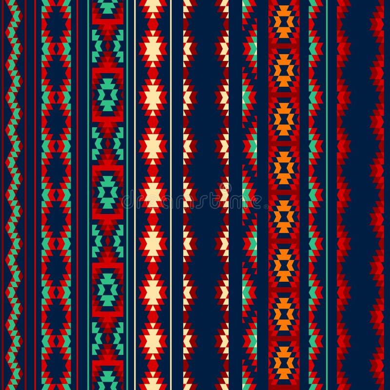 Den färgrika röda apelsinblåttaztecen gjorde randig den geometriska etniska sömlösa modellen för prydnader stock illustrationer