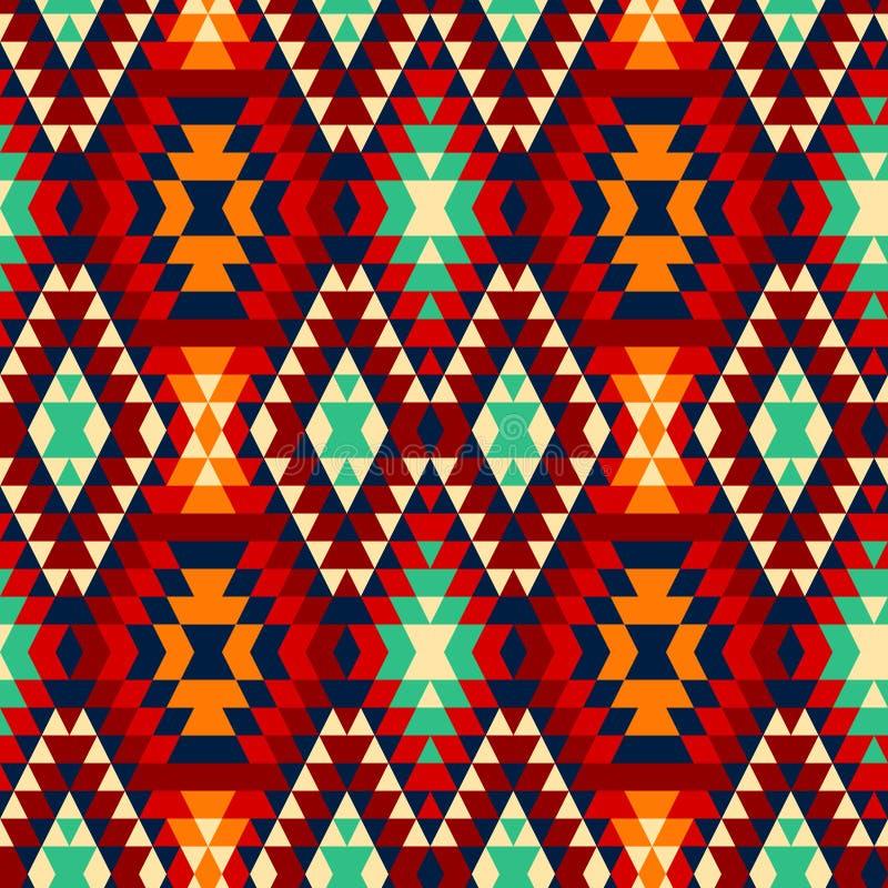 Den färgrika röda gulingblått- och svartaztecen smyckar den geometriska etniska sömlösa modellen, vektor vektor illustrationer