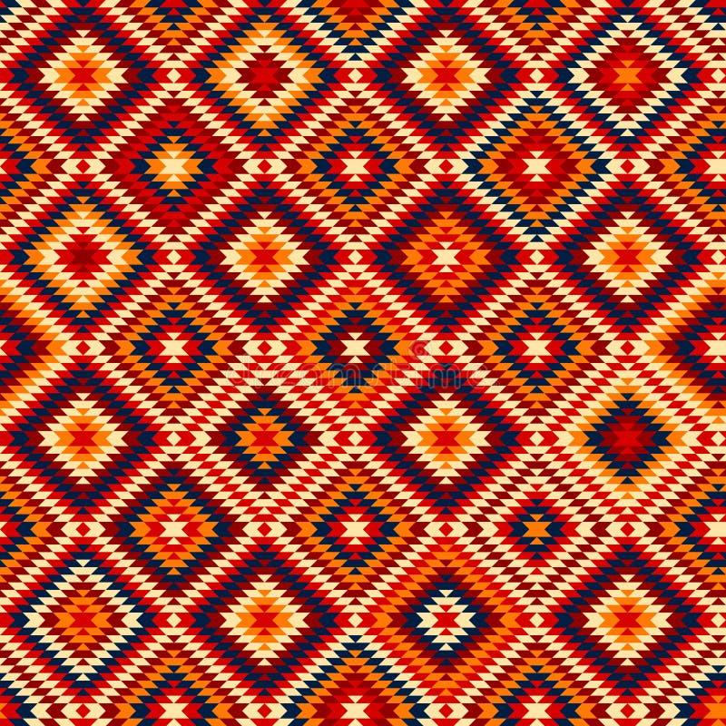 Den färgrika röda gulingblåttaztecen smyckar den geometriska etniska sömlösa modellen, vektor stock illustrationer